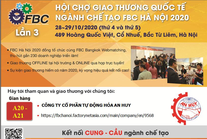 THƯ MỜI THAM DỰ HỘI CHỢ GIAO THƯƠNG QUỐC TẾ NGÀNH CHẾ TẠO FBC HÀ NỘI 2020 – THỦY LỰC AN HUY